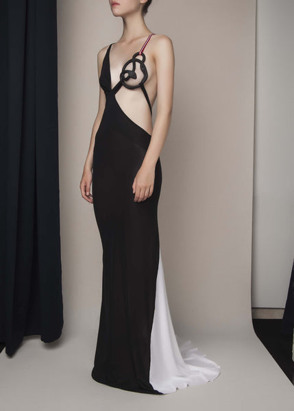 black and white gown with 3D printed breast cage