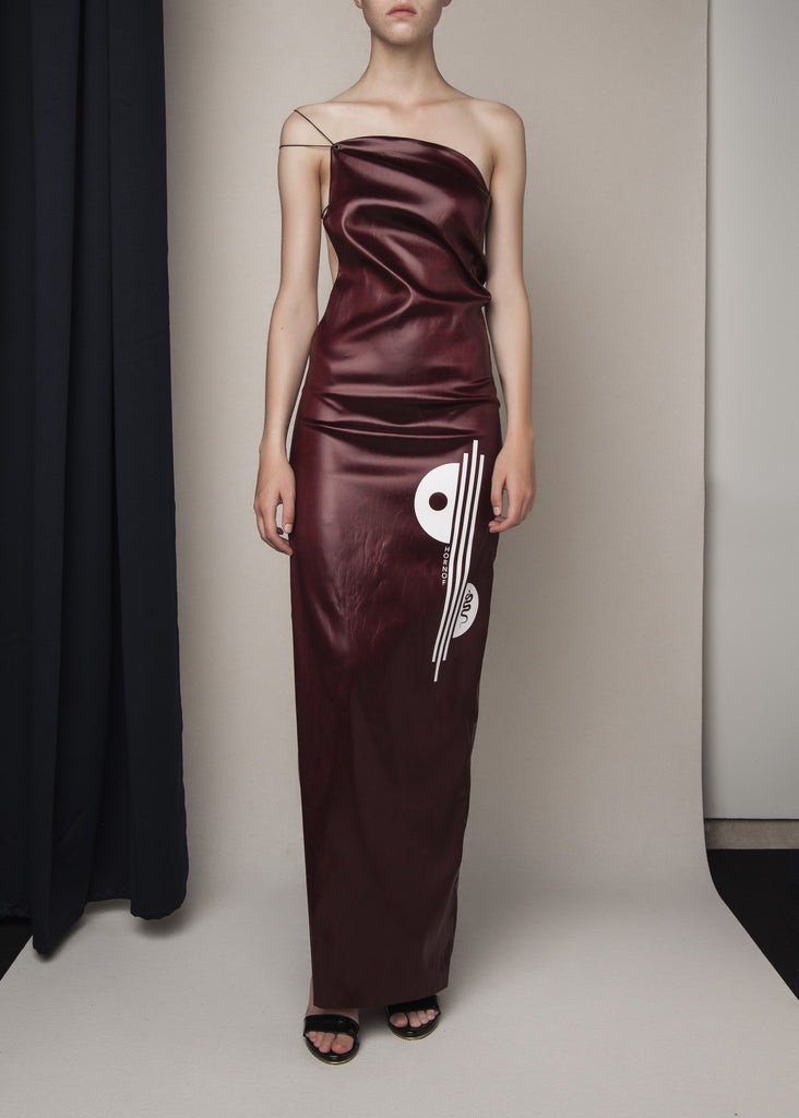 long dress in oxblood acetate