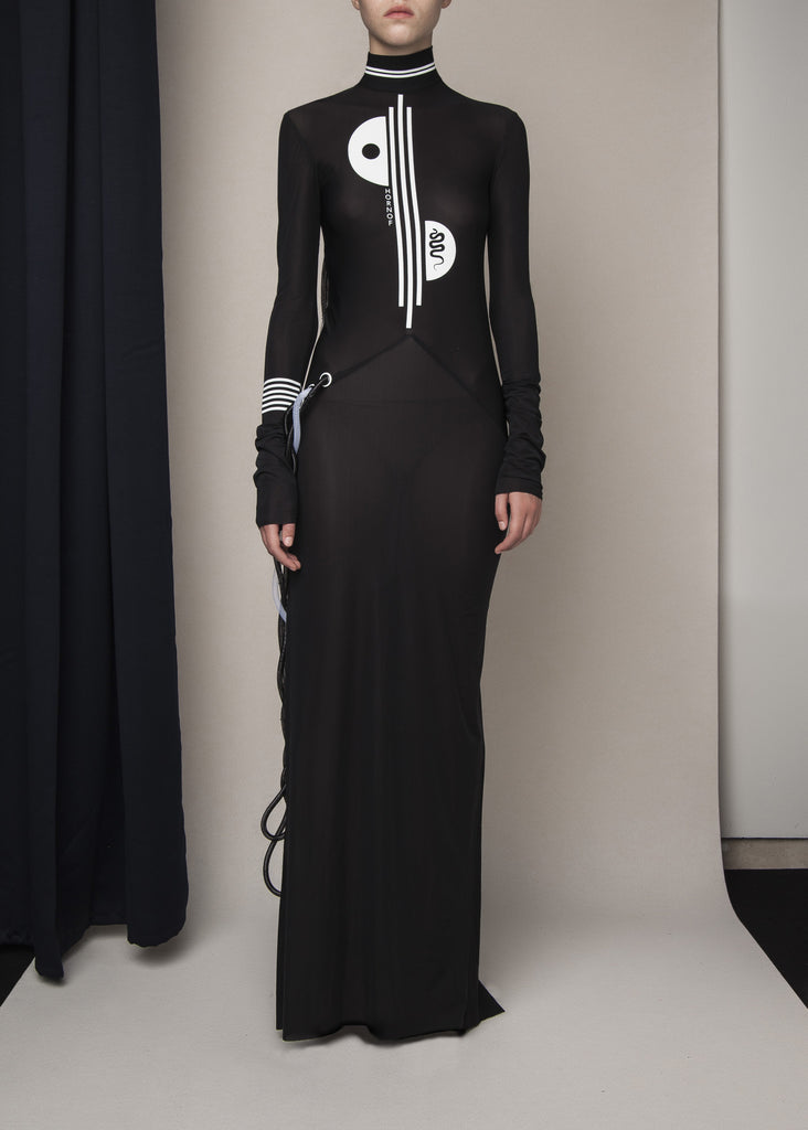 high neck long-sleeve gown with tubular crin appliqué