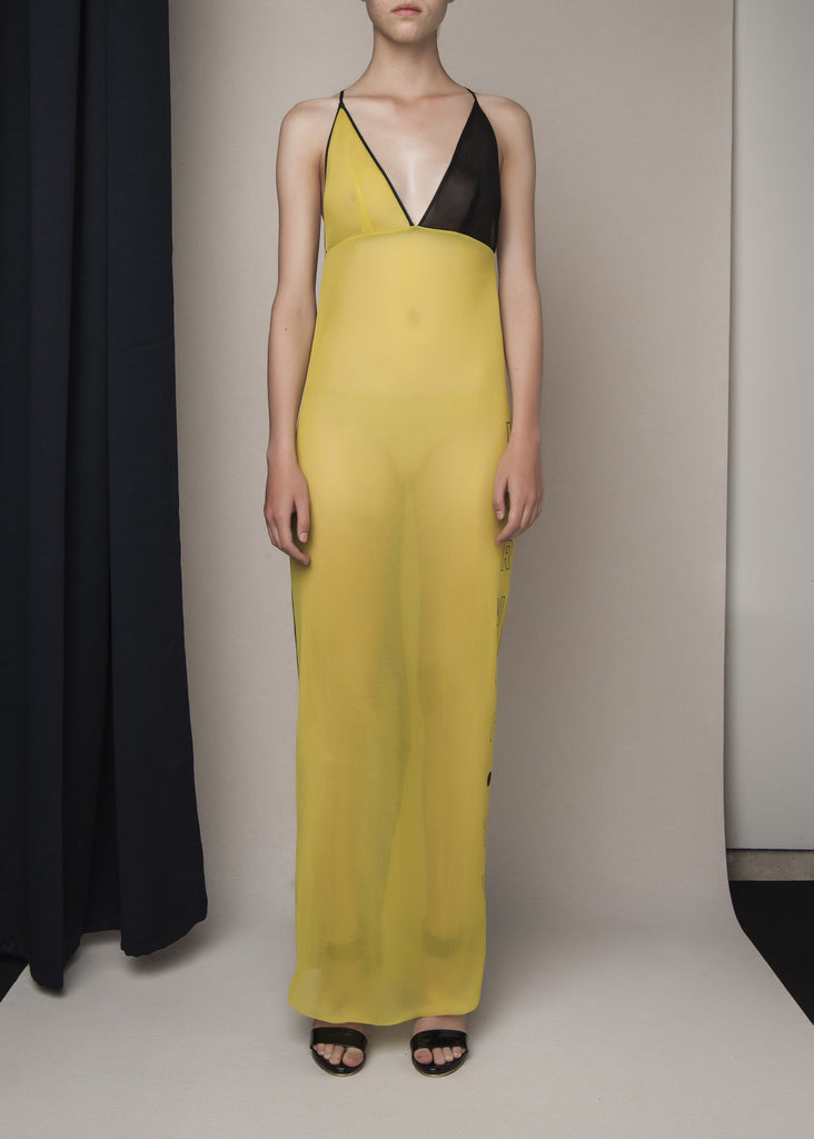 dress in yellow sheer neoprene mesh