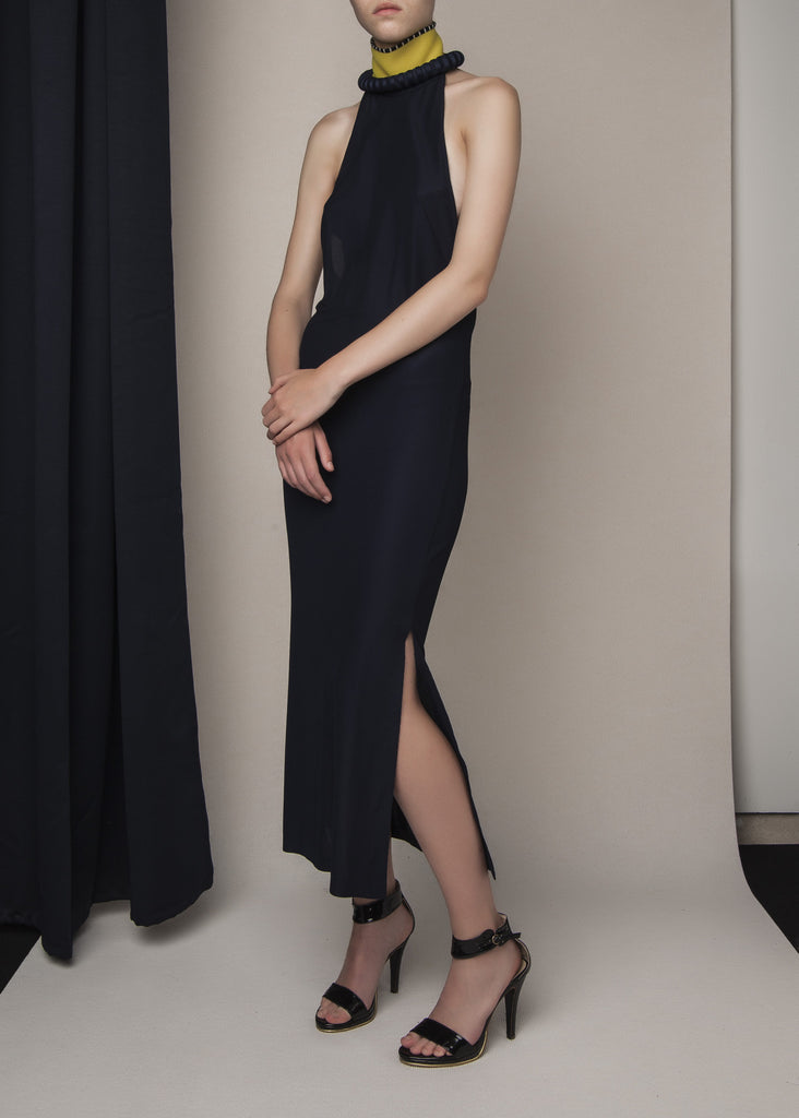 cocktail halterdress in navy viscose knit with constructed neckline