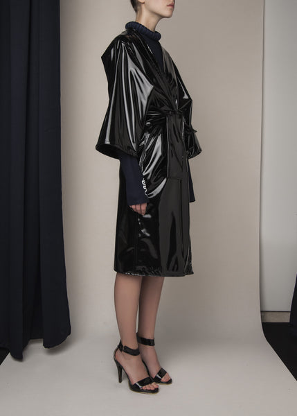 belted oversized coat in black vinyl