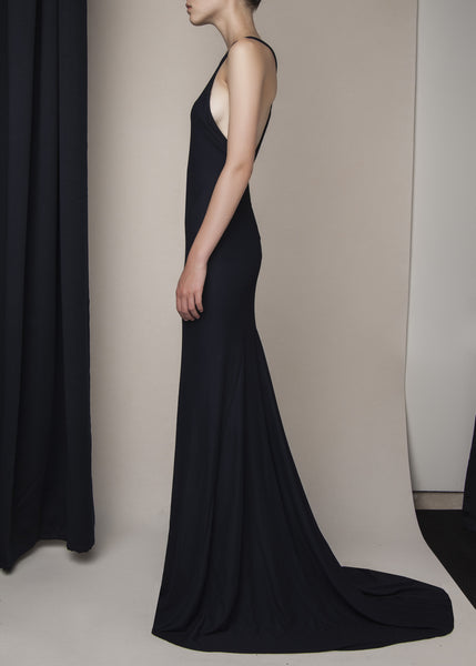 evening gown in navy viscose knit