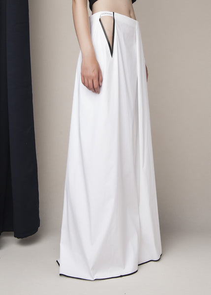 floor length skirt in stretch poplin