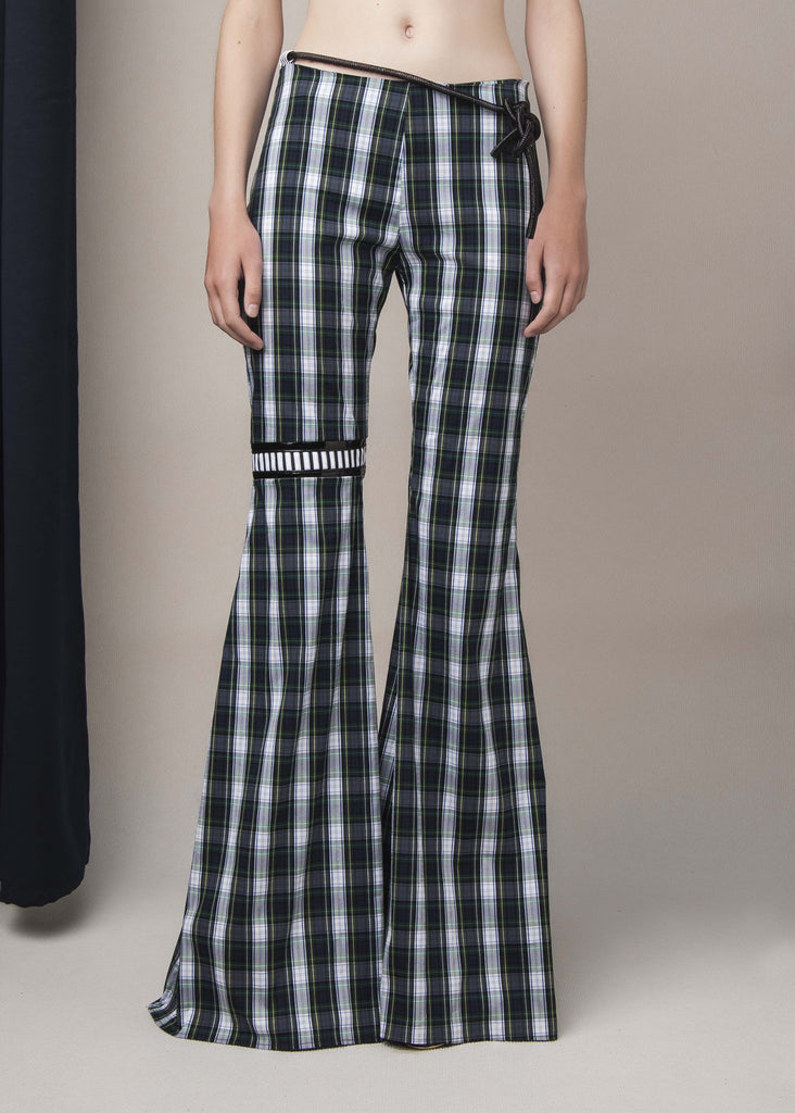 flared pants in stretch plaid cotton-blend
