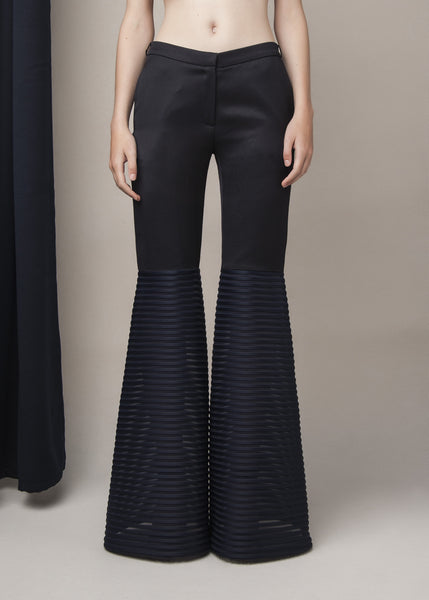 flared pants in navy blue