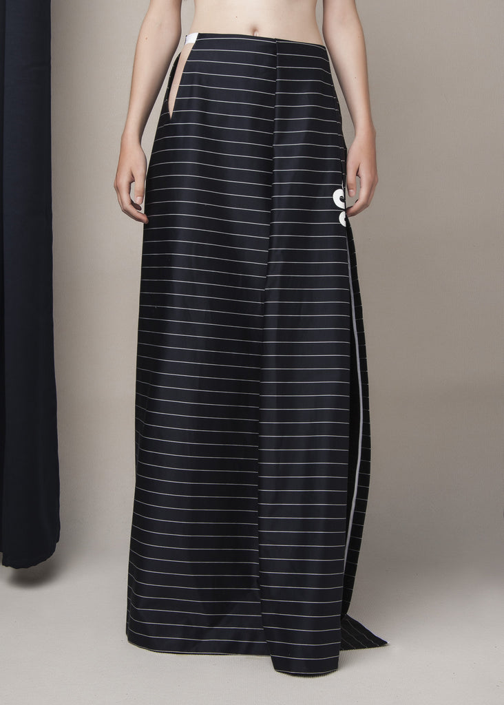 floor length skirt in navy blue pin-striped cotton