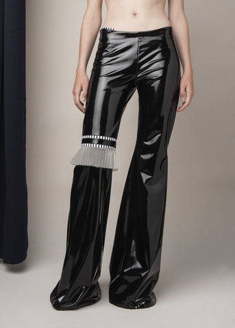 flared pants in black vinyl