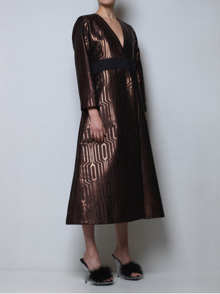 A-line coat in metallic bronze jacquard