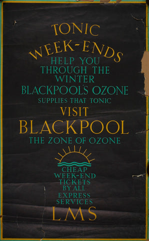 Blackpool Ozone poster, LMS, 1920s