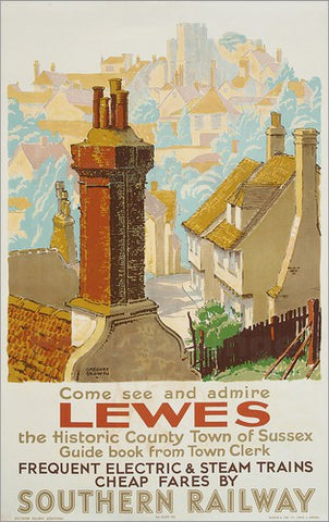 Lewes railway poster by F Gregory Brown