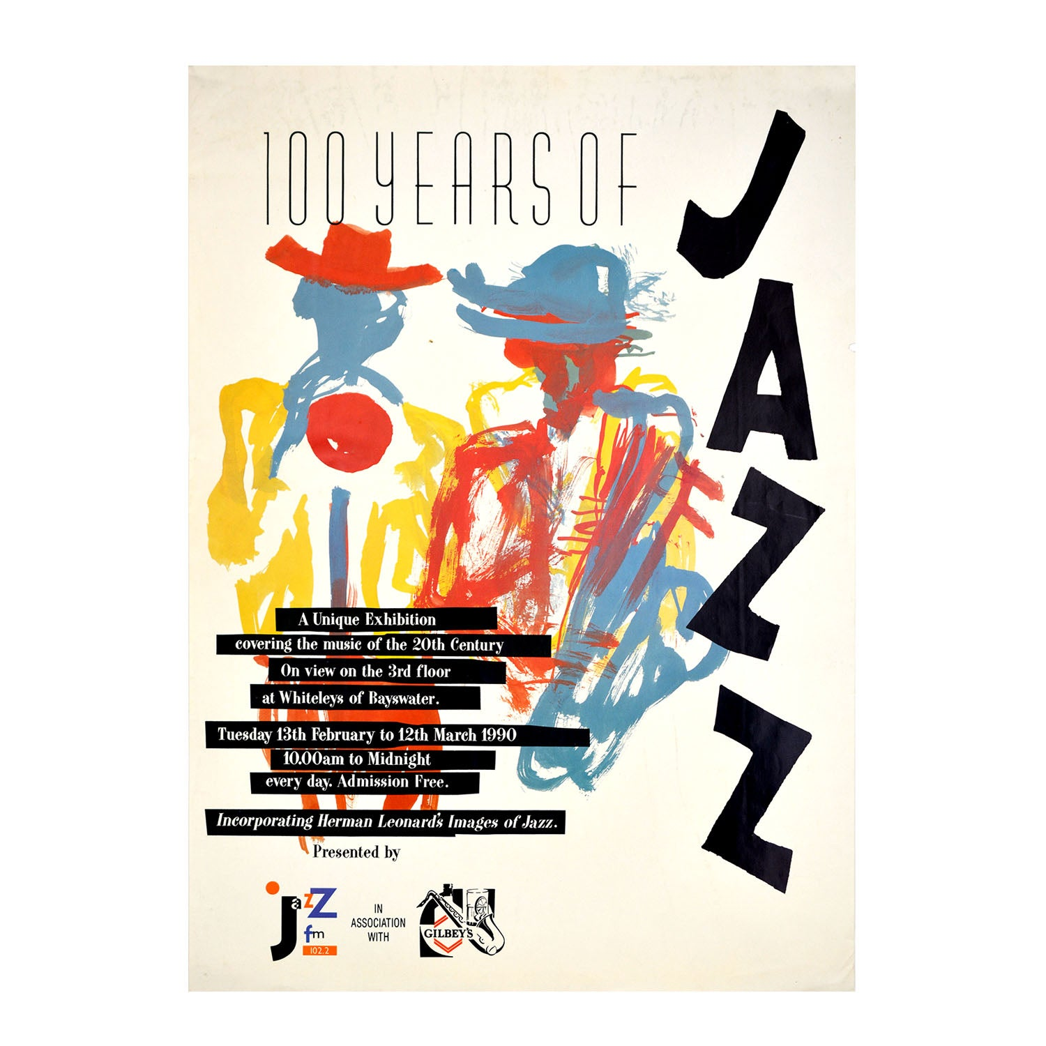 Original poster: 100 Years of Jazz. Exhibition at Whiteleys