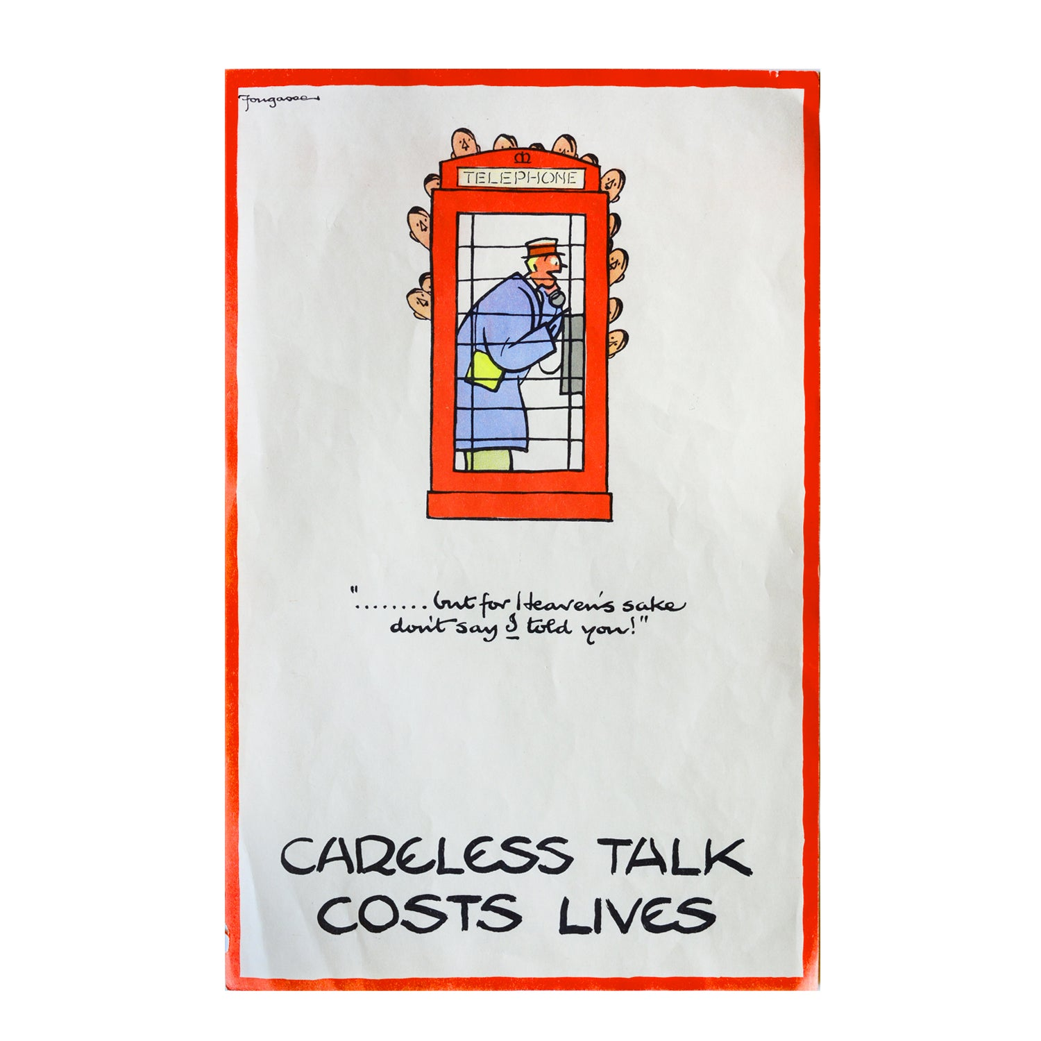 Original Fougasse Careless Talk Costs Lives poster 1940