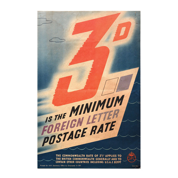 Original GPO poster 3D is the Minimum foreign letter postage rate