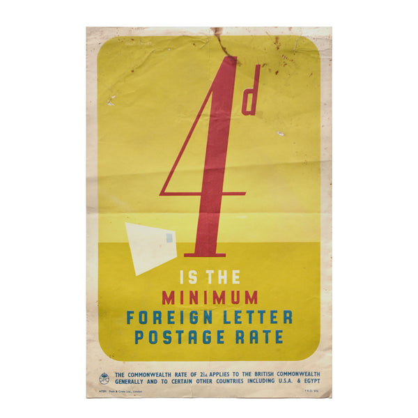 Original GPO poster 4d is the Minimum foreign letter postage rate