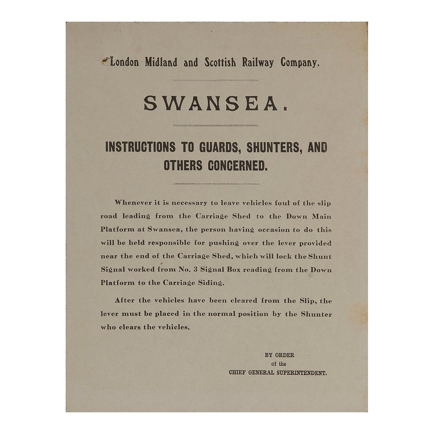 LMS Railway Staff Notice, Swansea Victoria station