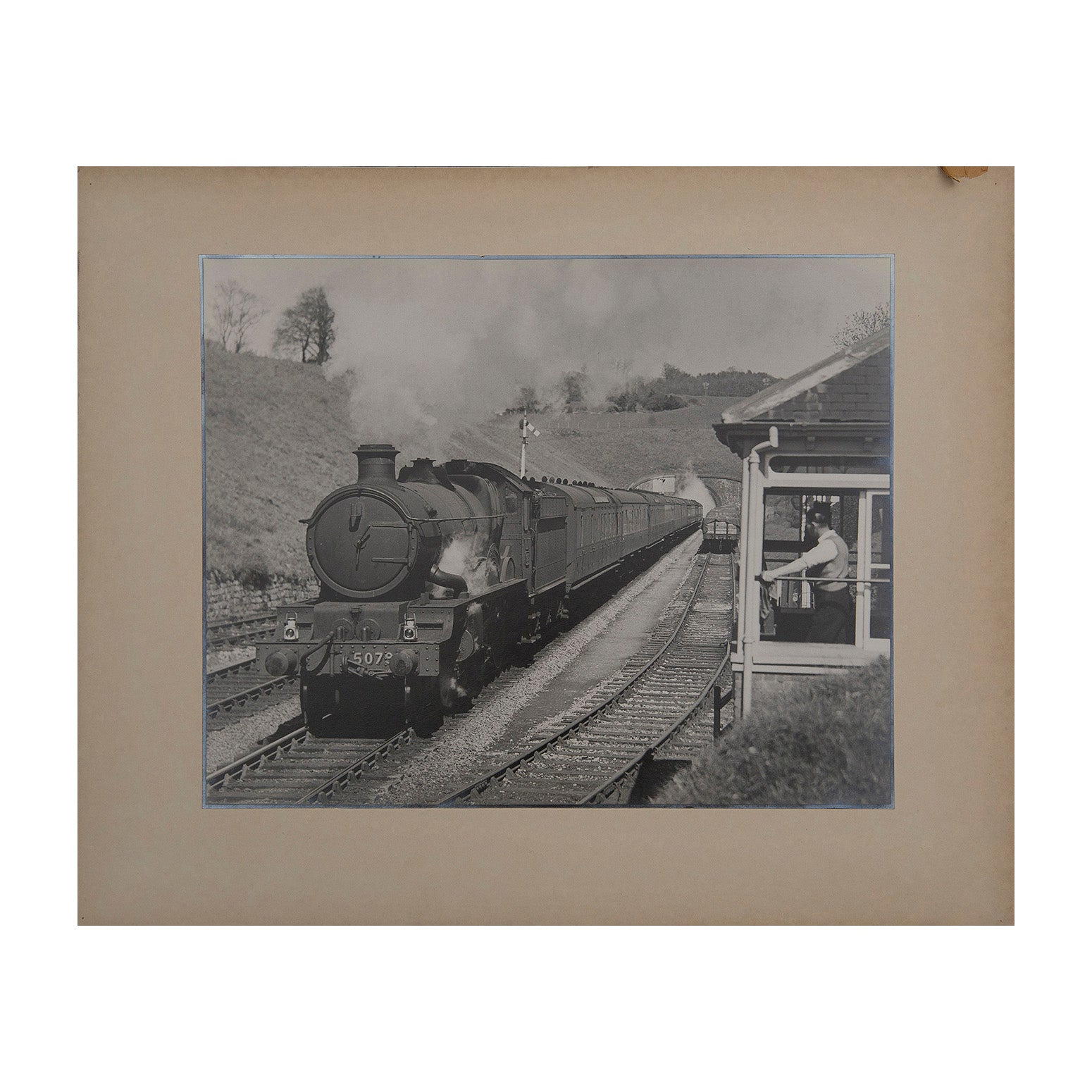 Original Maurice Earley photographic print:  Lysander heading the Penzance Express at Whitehead Tunnel Box