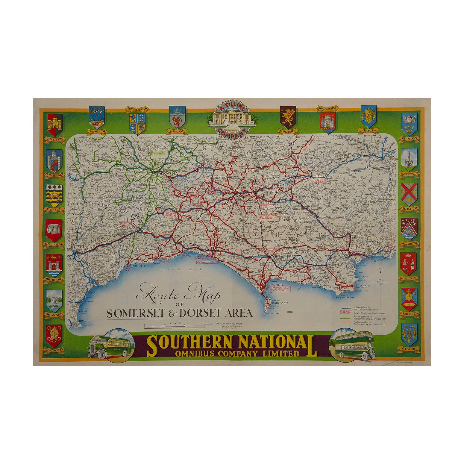 Route Map of Somerset & Dorset Area, Southern National Omnibus Company