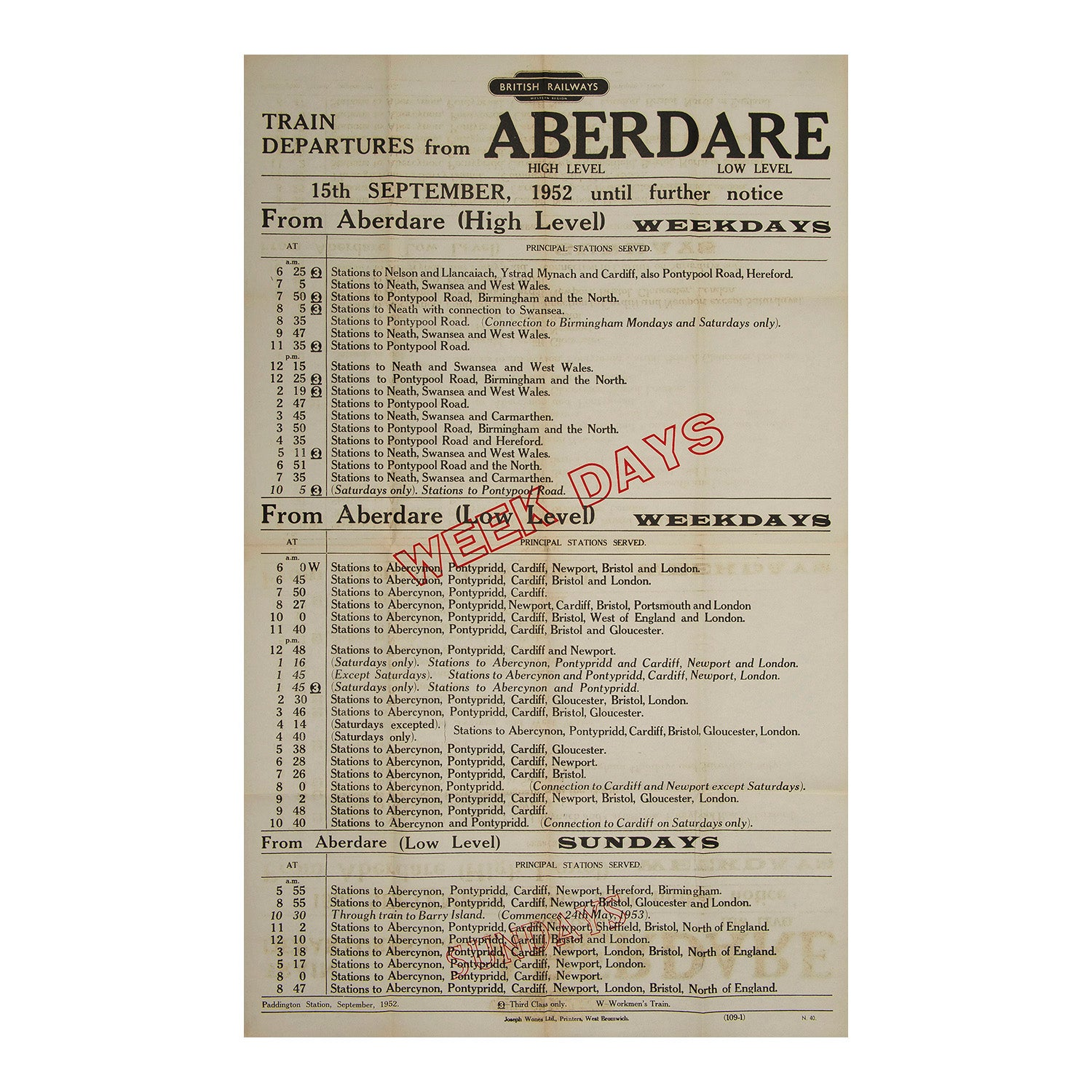 Train Departures from Aberdare
