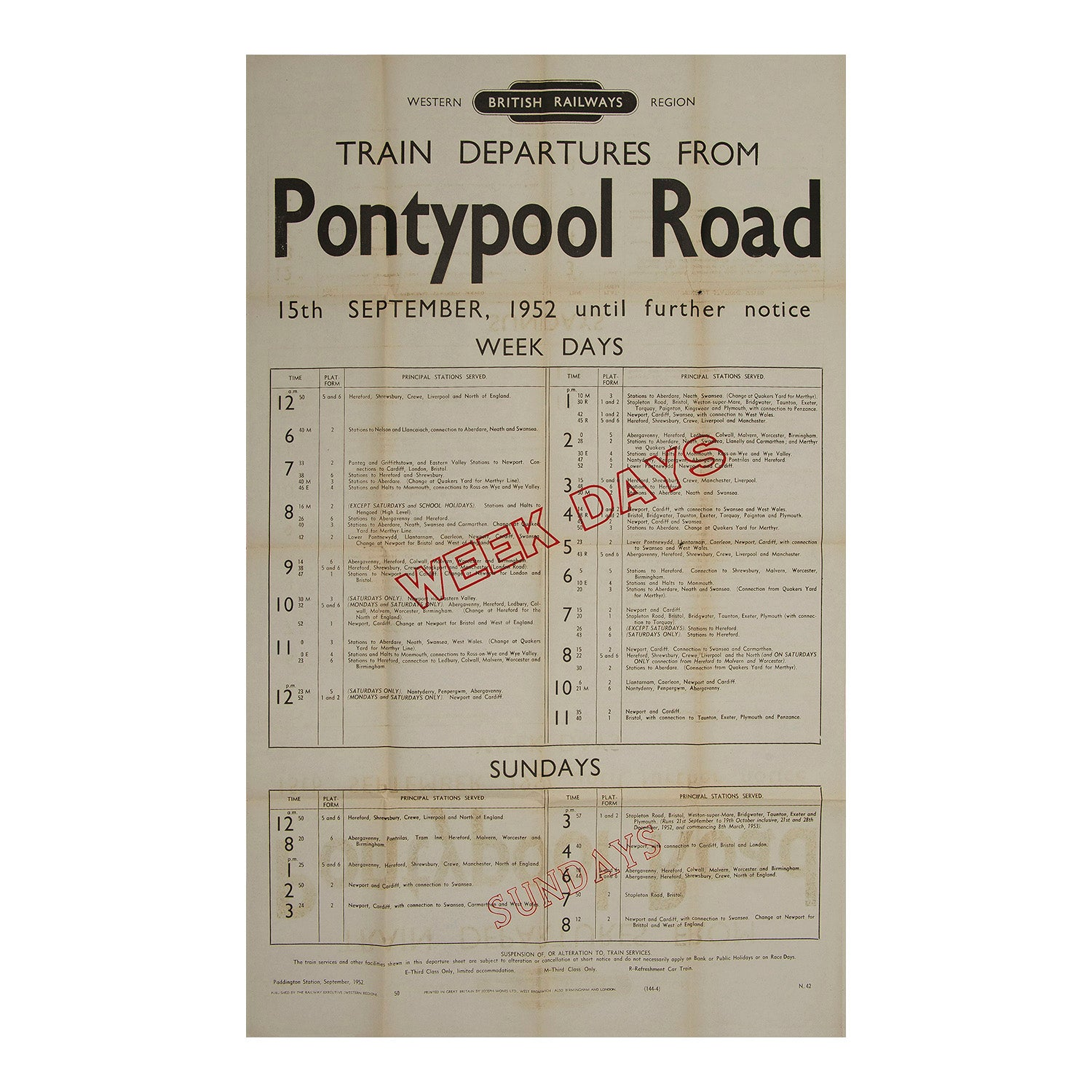 Train Departures from Pontypool Road
