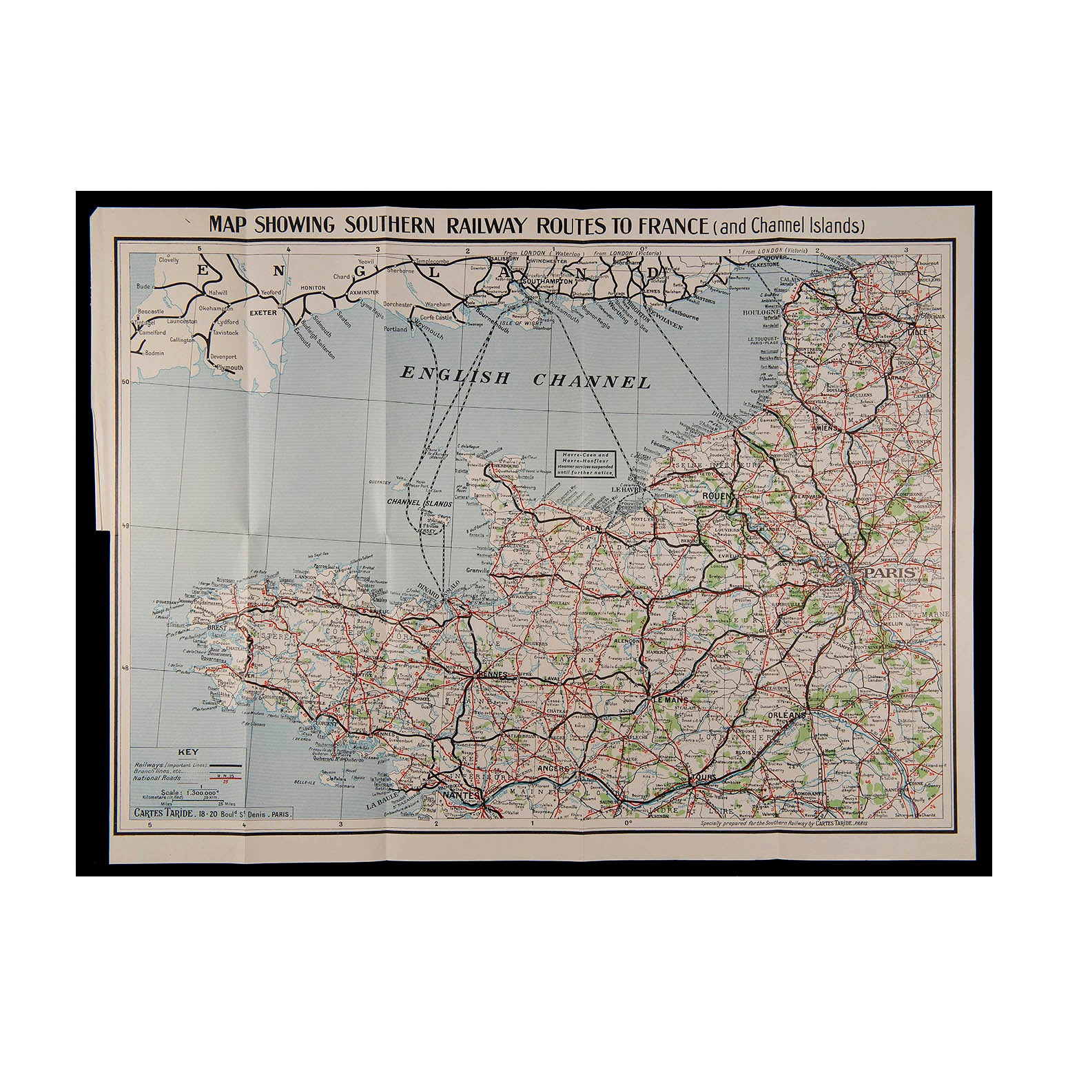 Map showing Southern Railway routes to France (and Channel Islands)