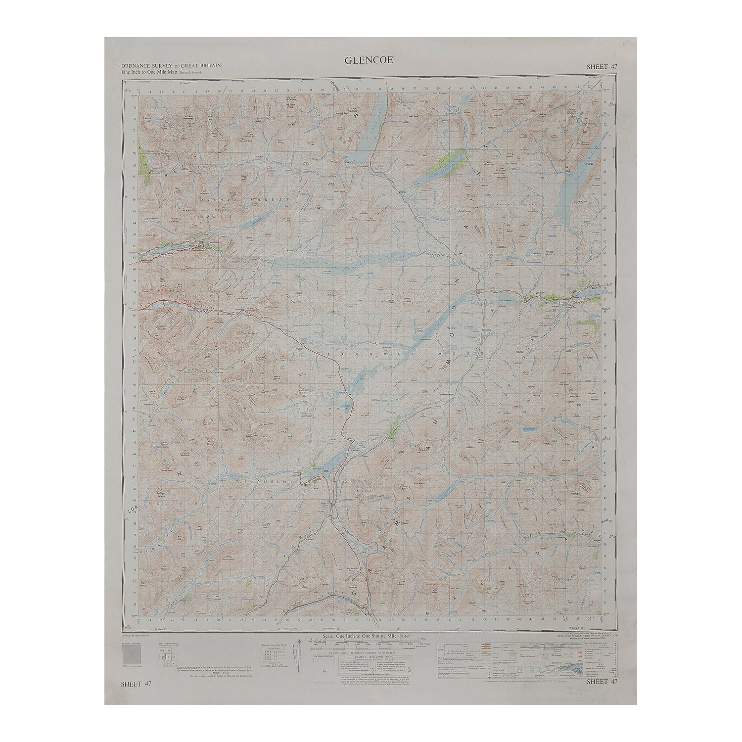 Glencoe Ordnance Survey map 1 inch to 1 mile