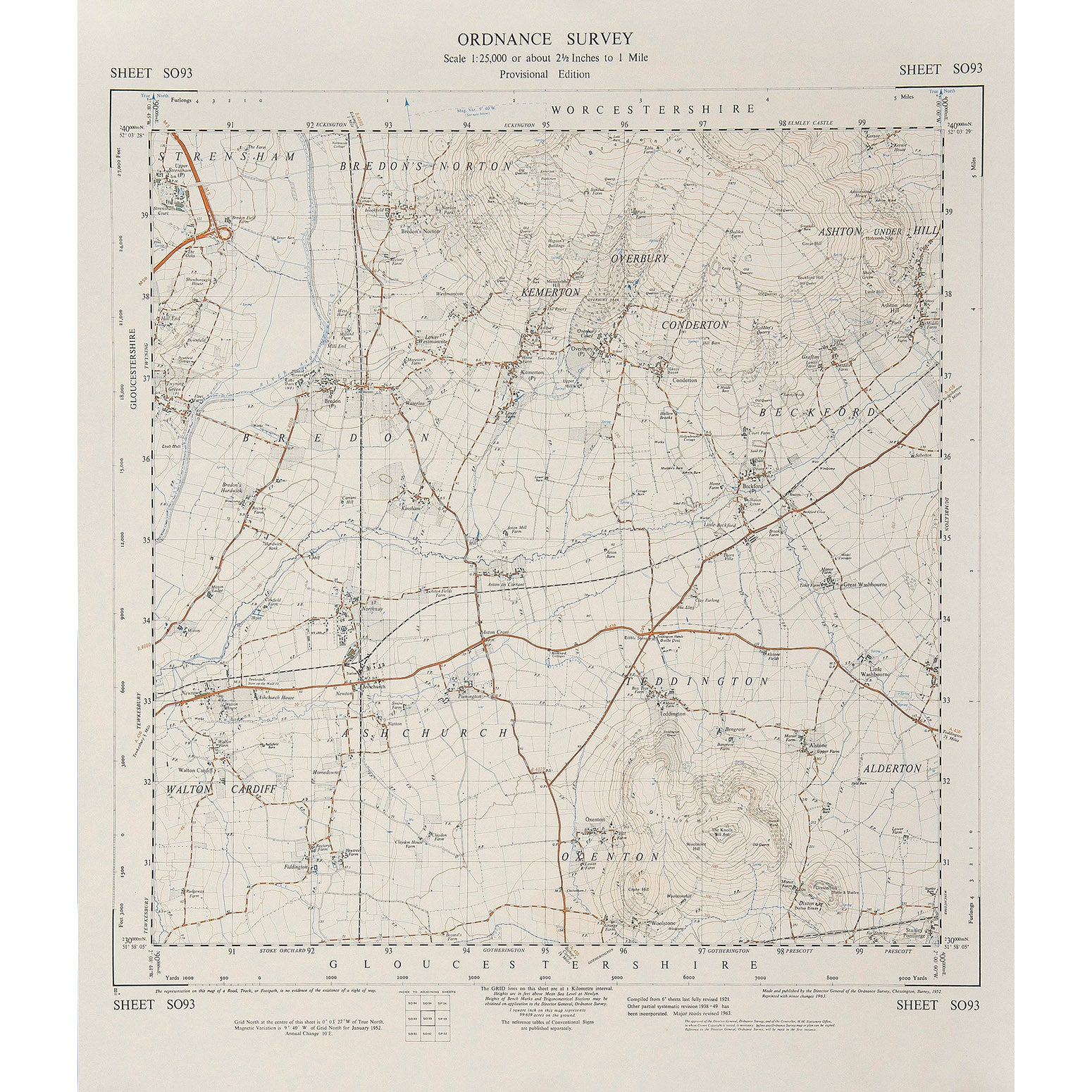 Worcestershire Ordnance Survey map 1:25,000 scale