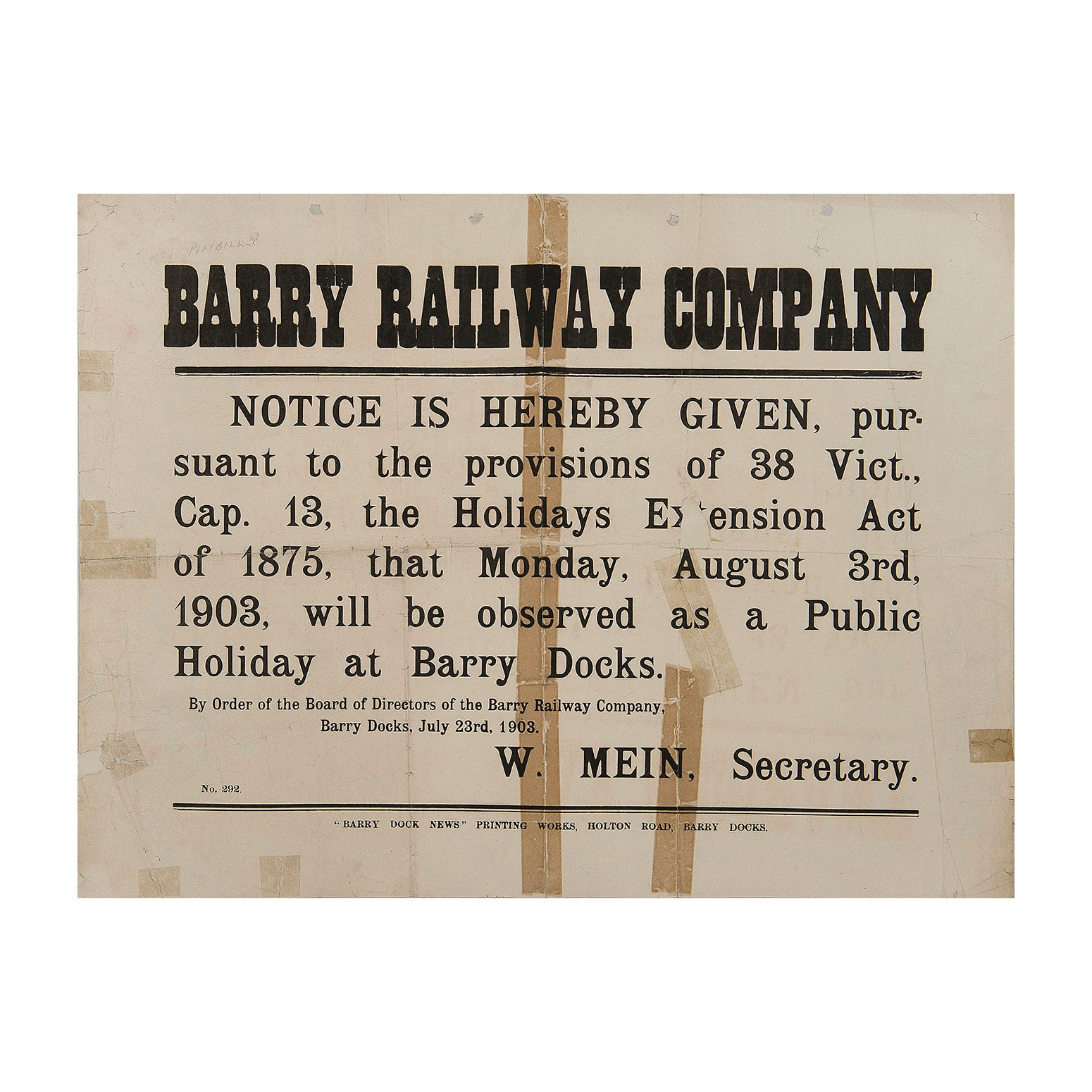 Bank Holiday Notice, Barry Railway, 1903