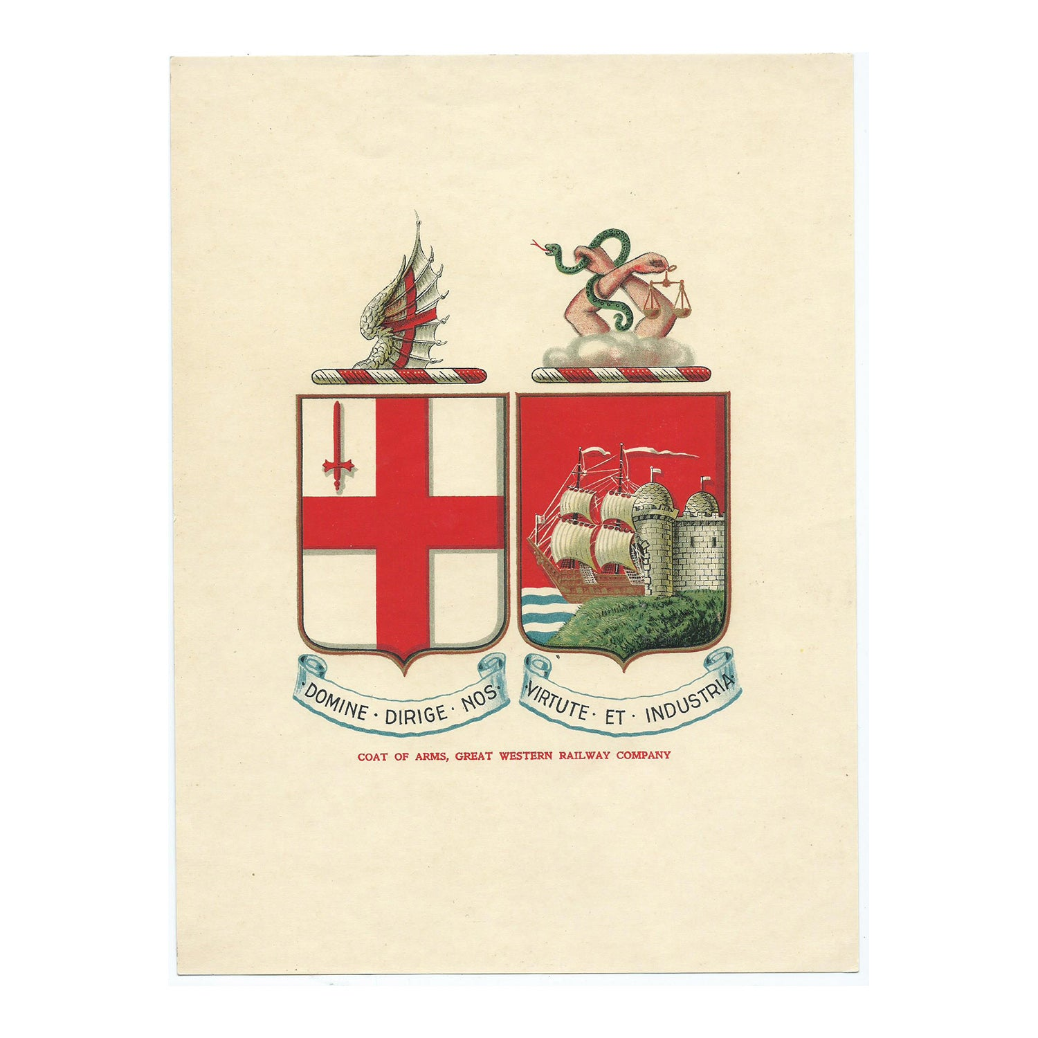 Original Great Western Railway artwork, proof and print of company crest, 1911