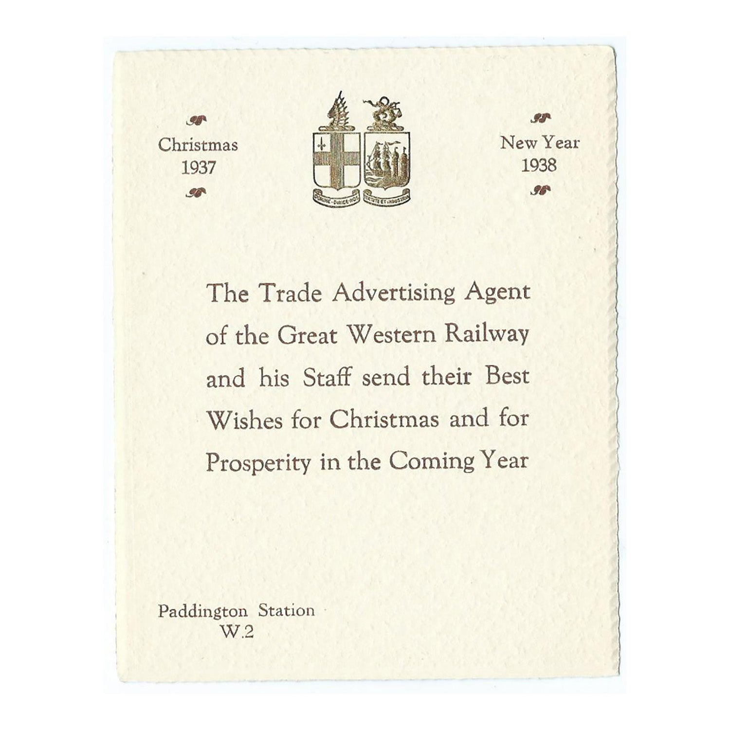 The Trade Advertising Agent of the Great Western Railway. Christmas Card.