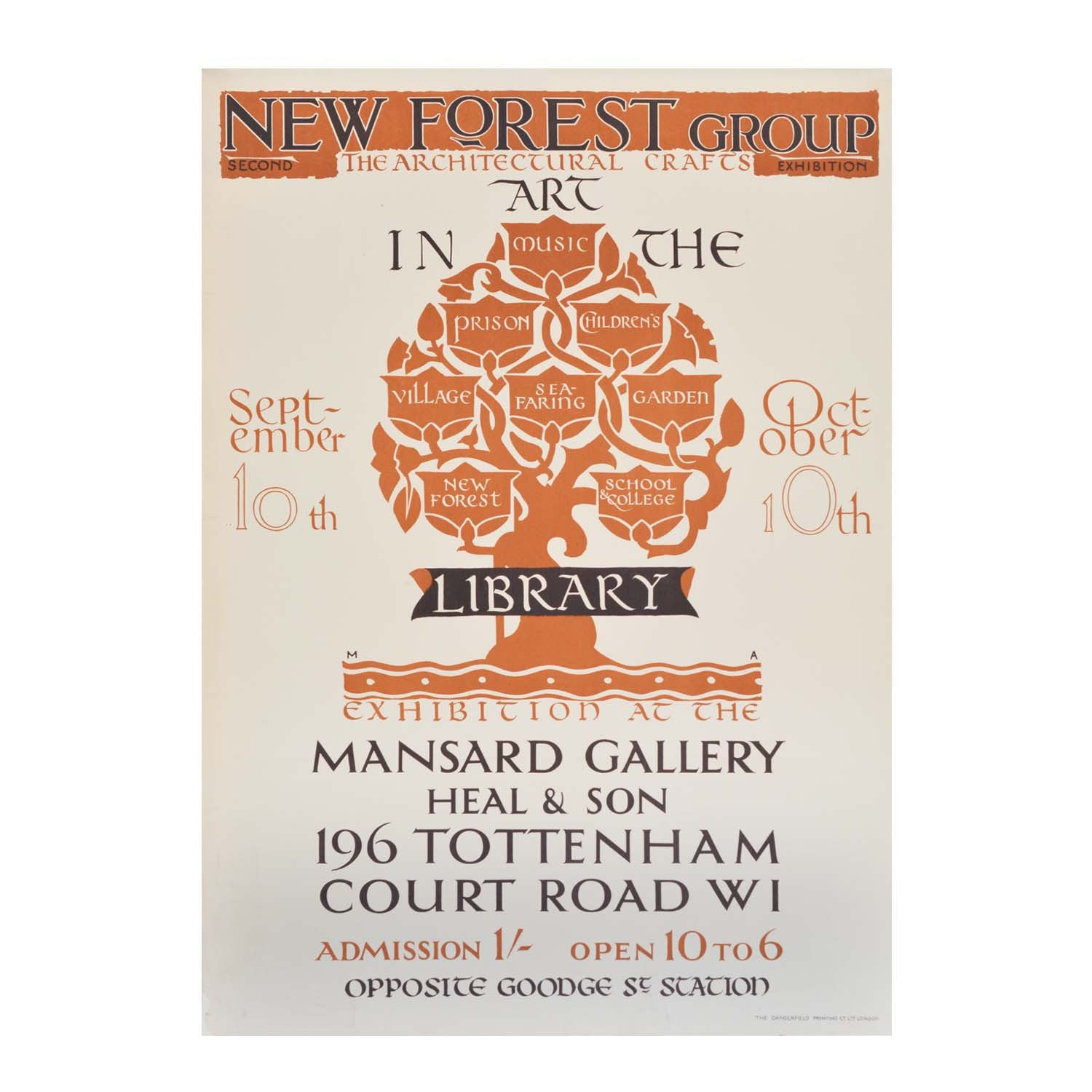 Original Heal's Mansard Gallery poster New Forest Group Painters 1920s Maxwell Armfield