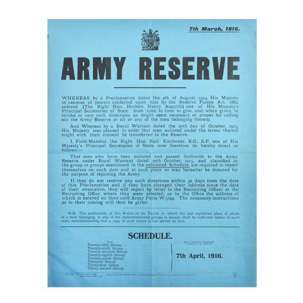 Army Reserve Call Up 1916