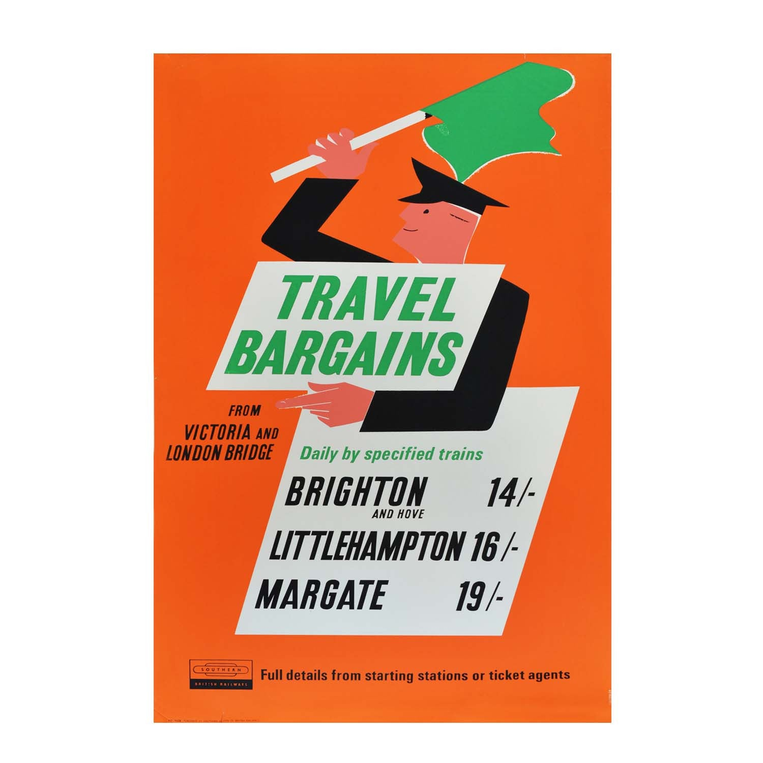 Original mid-century modern poster promoting day trips by train from London Victoria and London Bridge stations to Brighton, Littlehampton and Margate