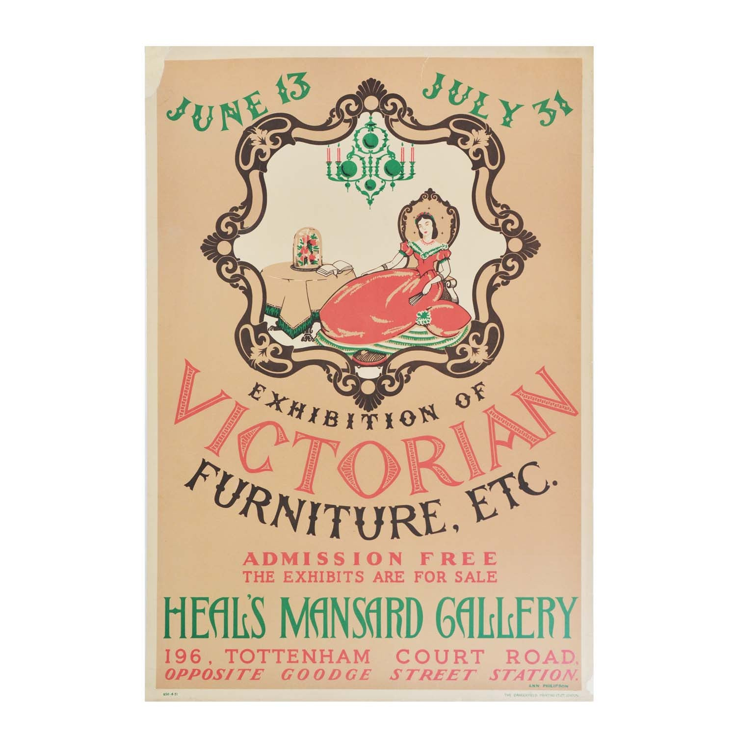 Original Heal's Mansard Gallery poster 1930s Victorian furniture