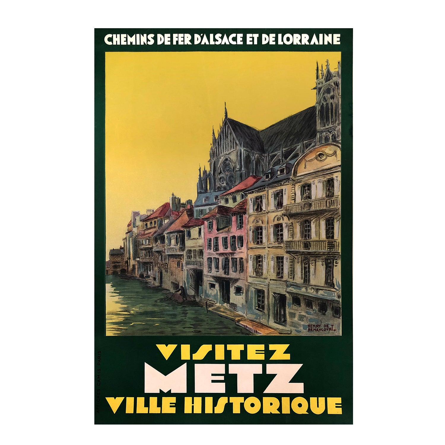 An original French 1920s poster by Henri de Renaucourt promoting travel to Metz in the Lorraine region