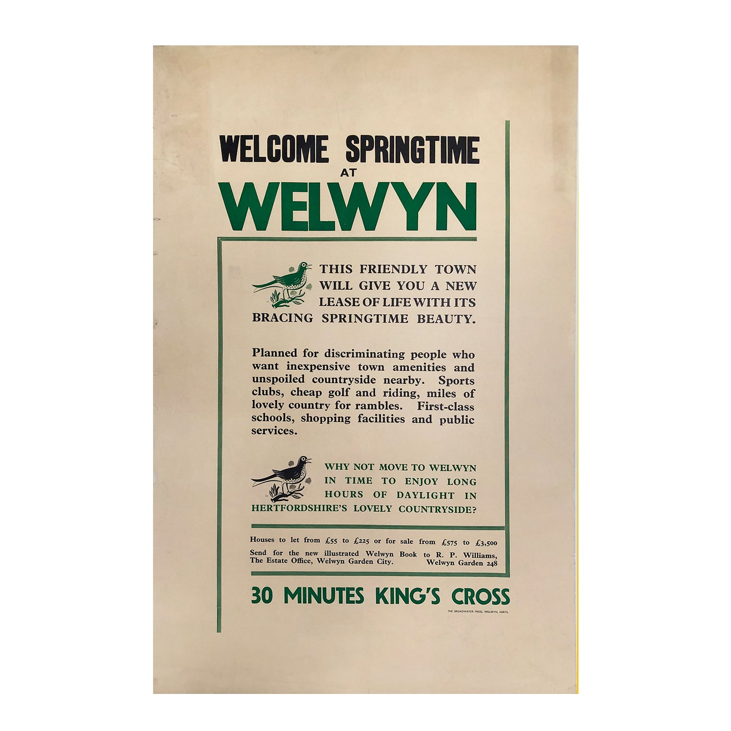 Original vintage poster promoting homes for sale in Welwyn Garden City, with illustrations by Stanley Herbert