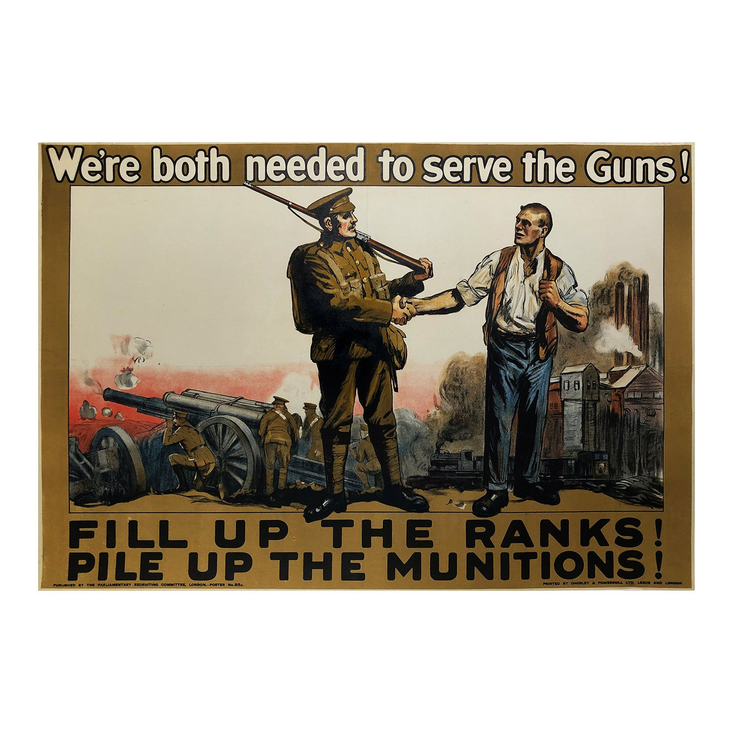 Original WW1 poster, We're both needed to serve the Guns!