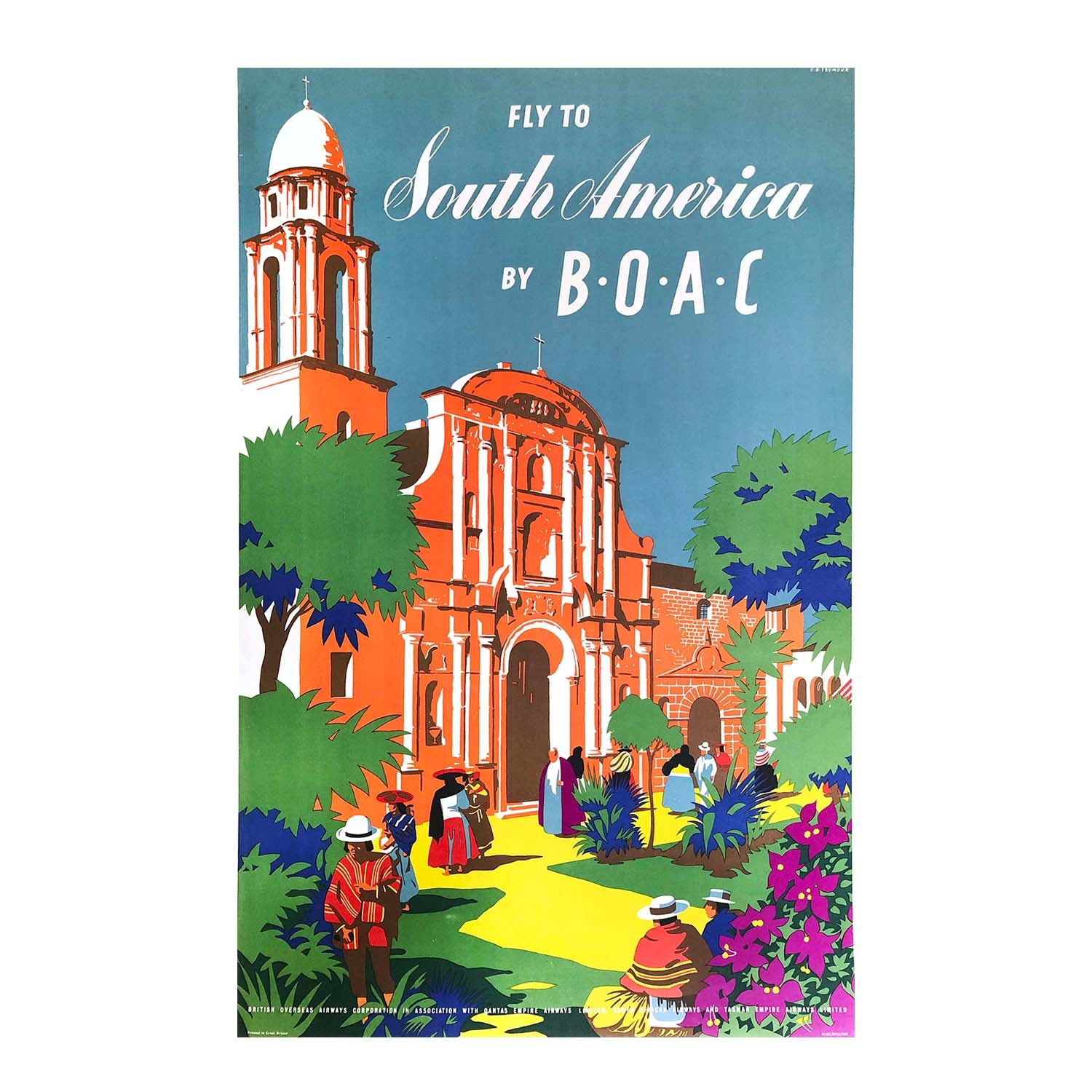 An original, vintage, mid-century airline poster for flights to South America, published by the British Overseas Airline Corporation