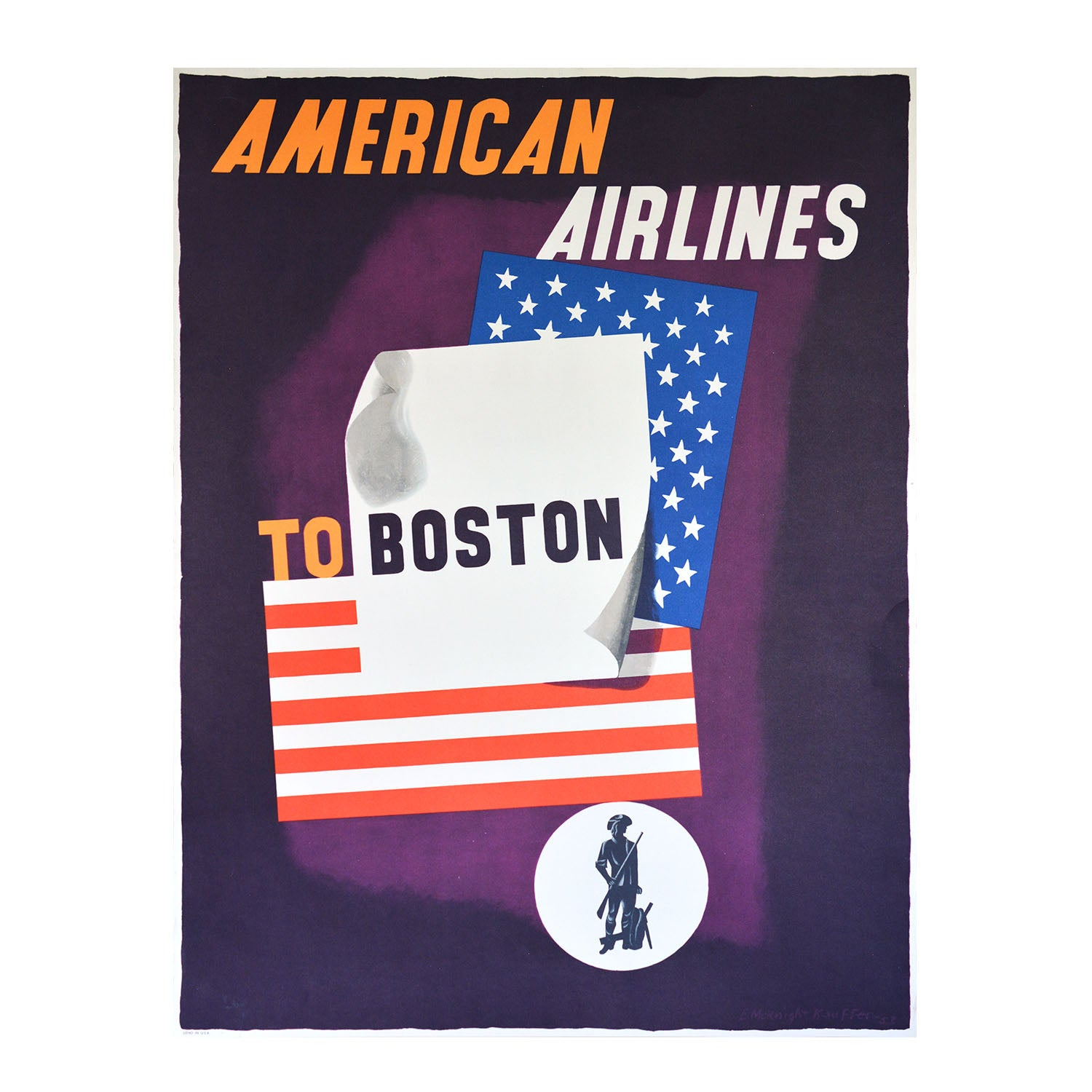 Original American Airlines Boston poster 1953 Kauffer