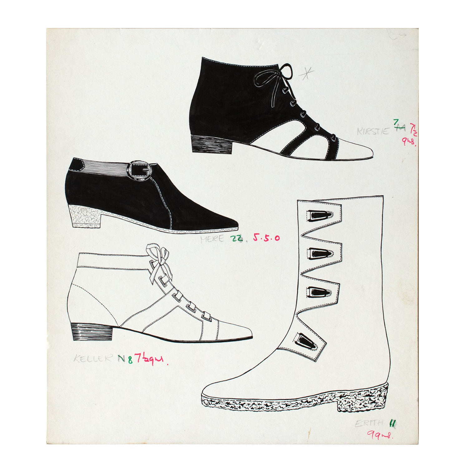 Original fashion drawing for Elliott & Sons (shoes & boots) brochure