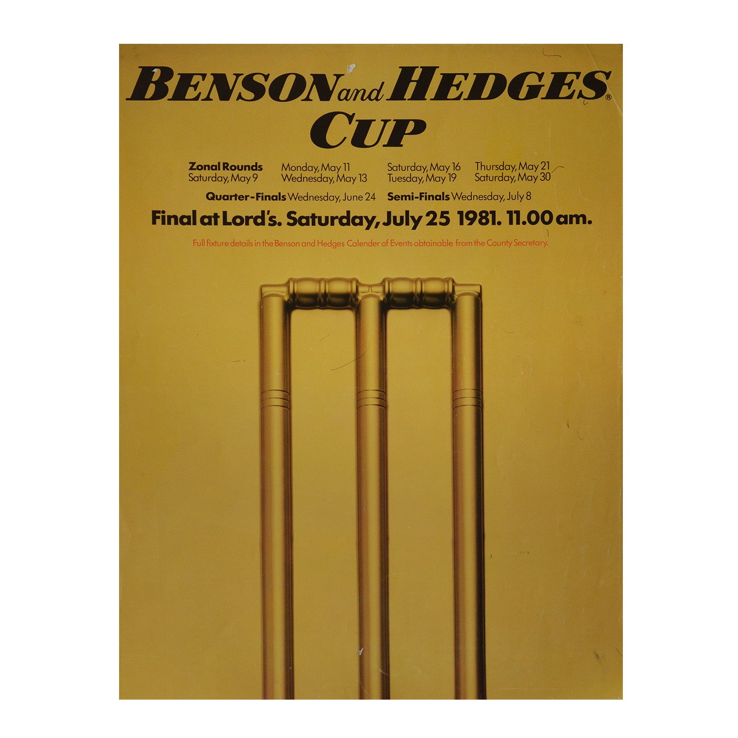 Original Benson and Hedges Cup Final poster 1981
