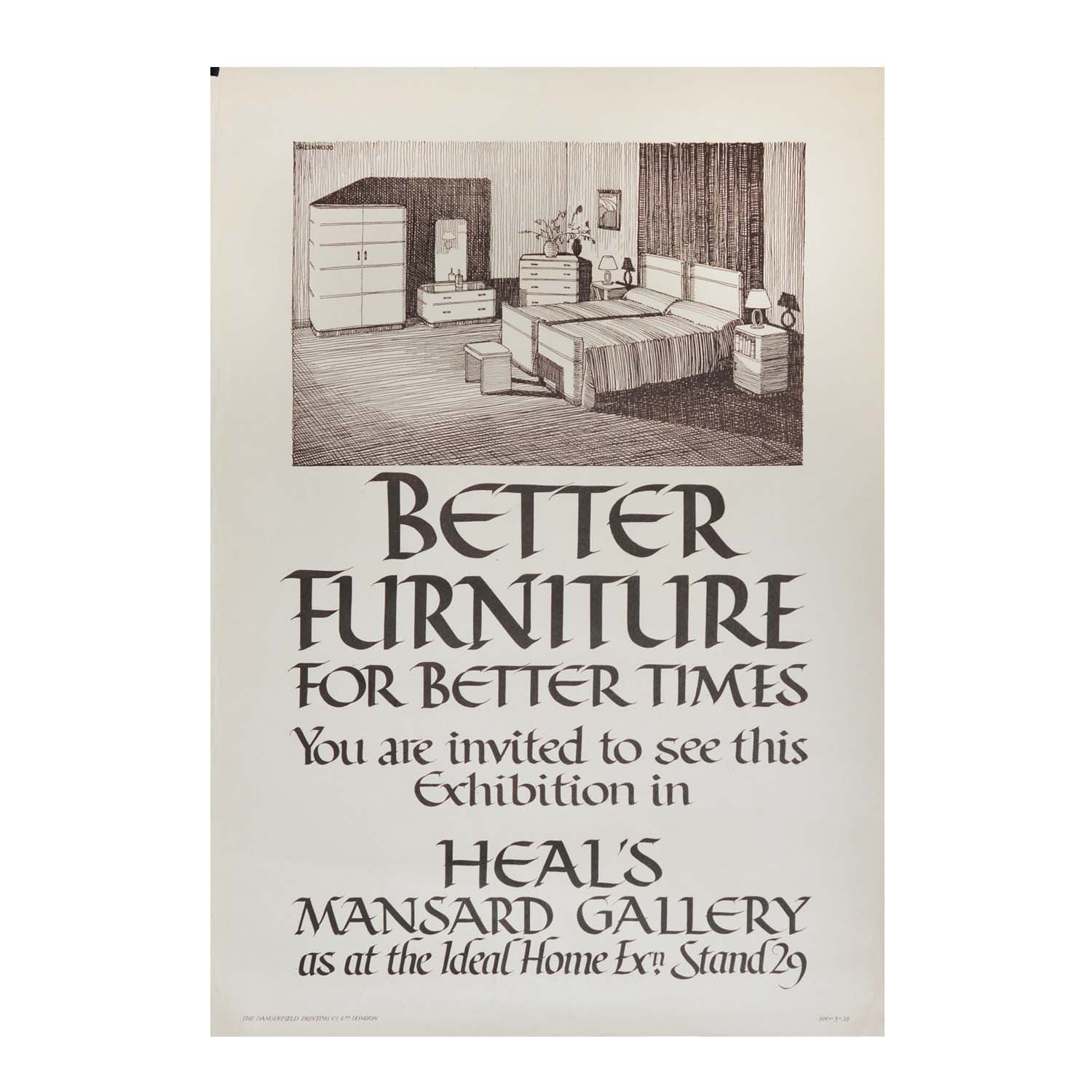 Original Mansard Gallery poster. Heal's Department Store. 1930s. Art Deco bedroom furniture. Moderne.