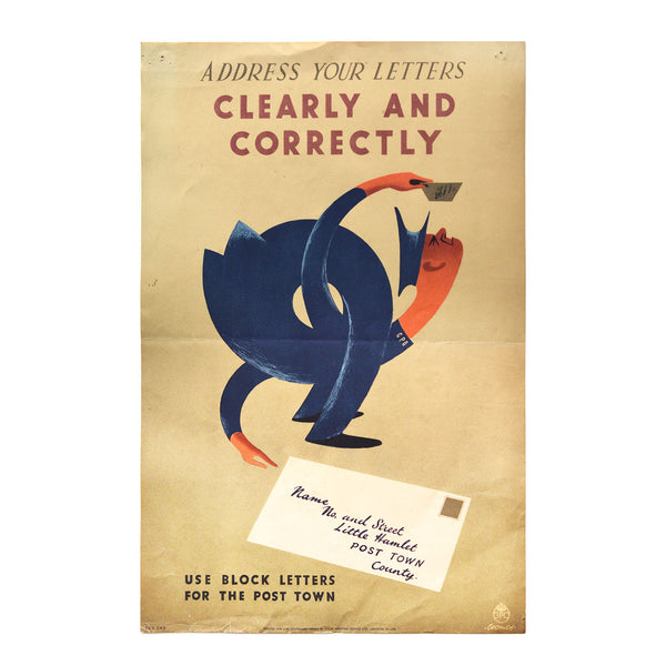Original GPO poster Address your letters Clearly and Correctly