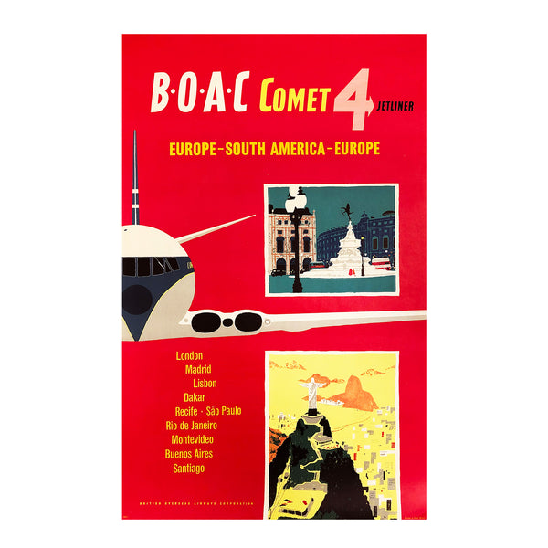 A superlative, original, mid-century modern BOAC poster in excellent condition, depicting the world's first commercial jet airliner, the Comet