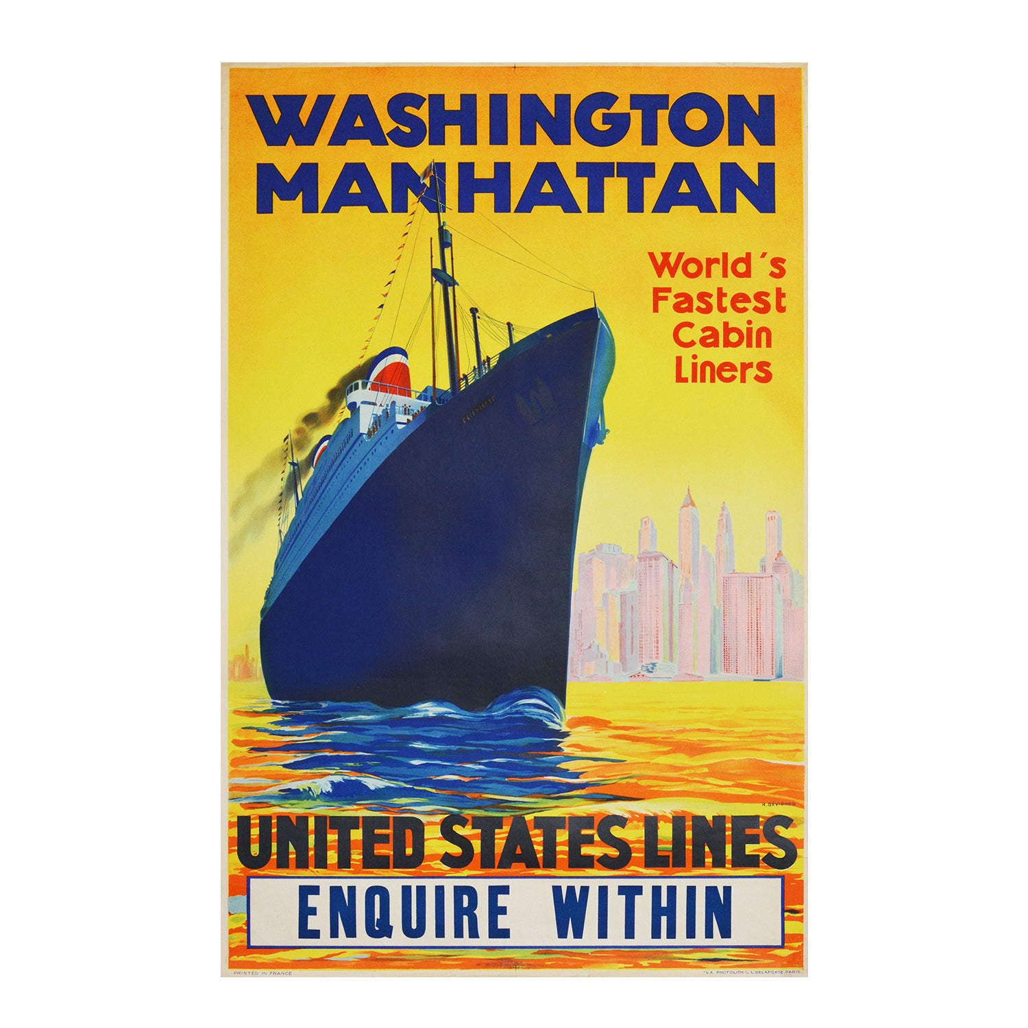 A stylish original United States Lines poster promoting the company's latest transatlantic passenger liners Manhattan and Washington