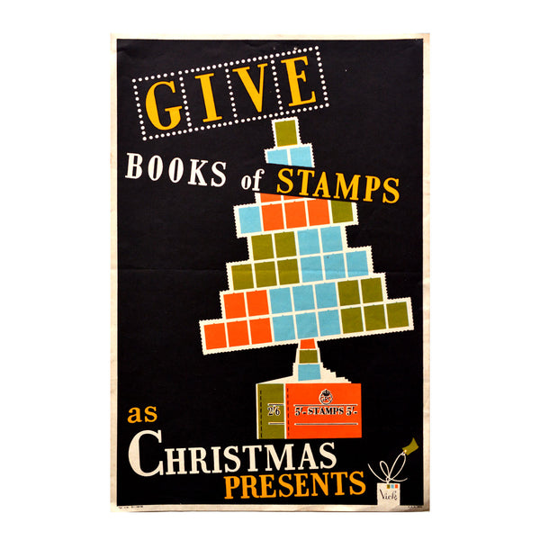 Original GPO poster Give books of stamps as Christmas presents