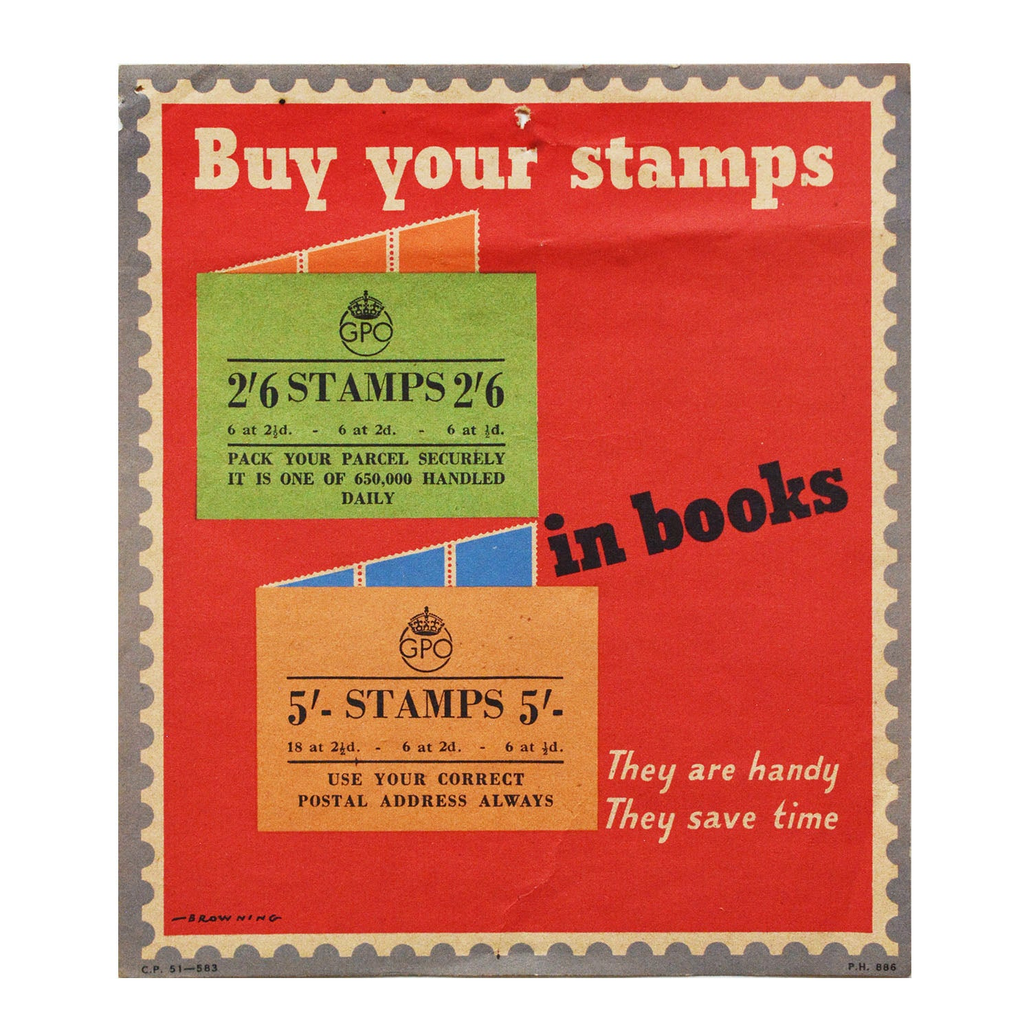 Original GPO poster Buy your stamps in books
