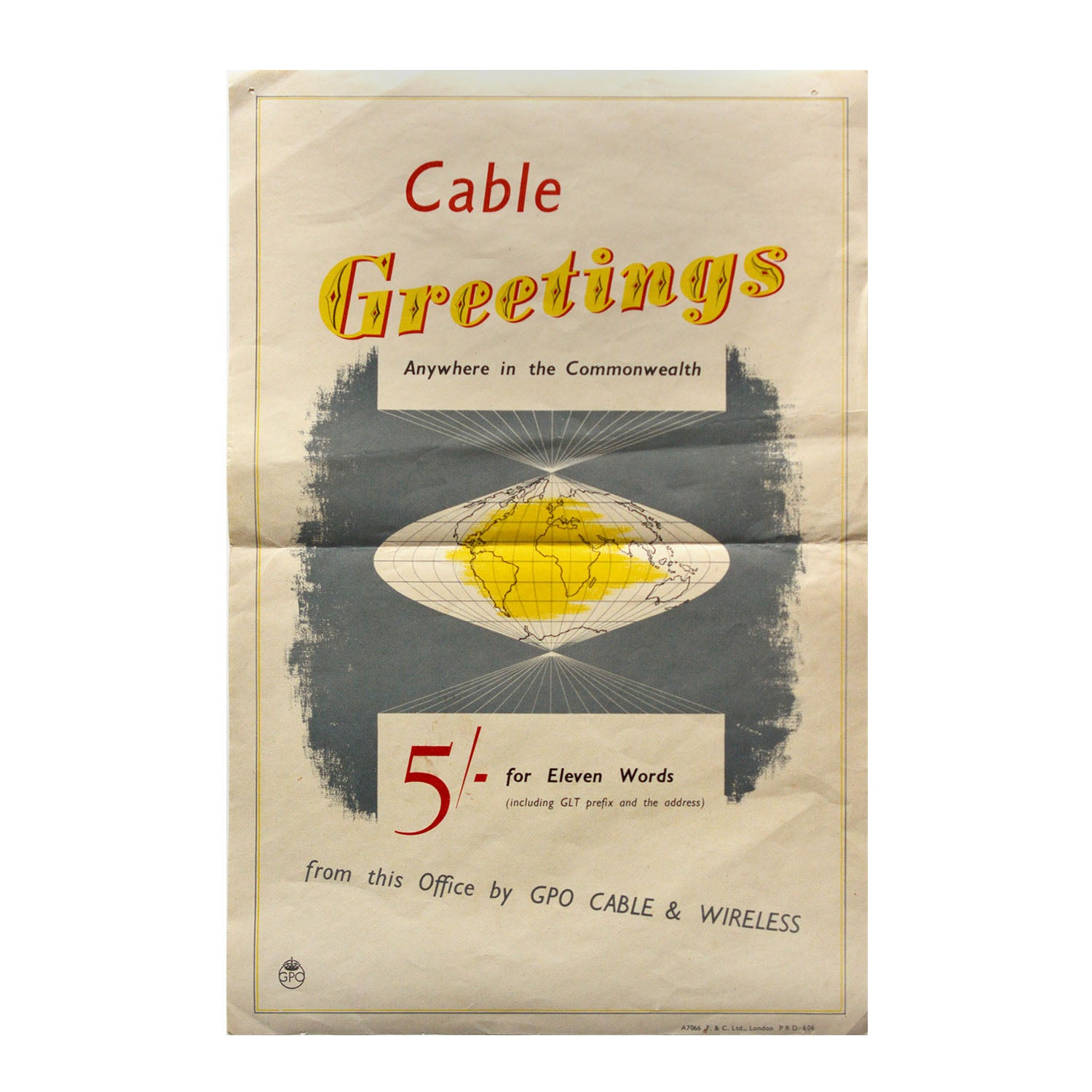 Original GPO poster Cable Greetings anywhere in the Commonwealth