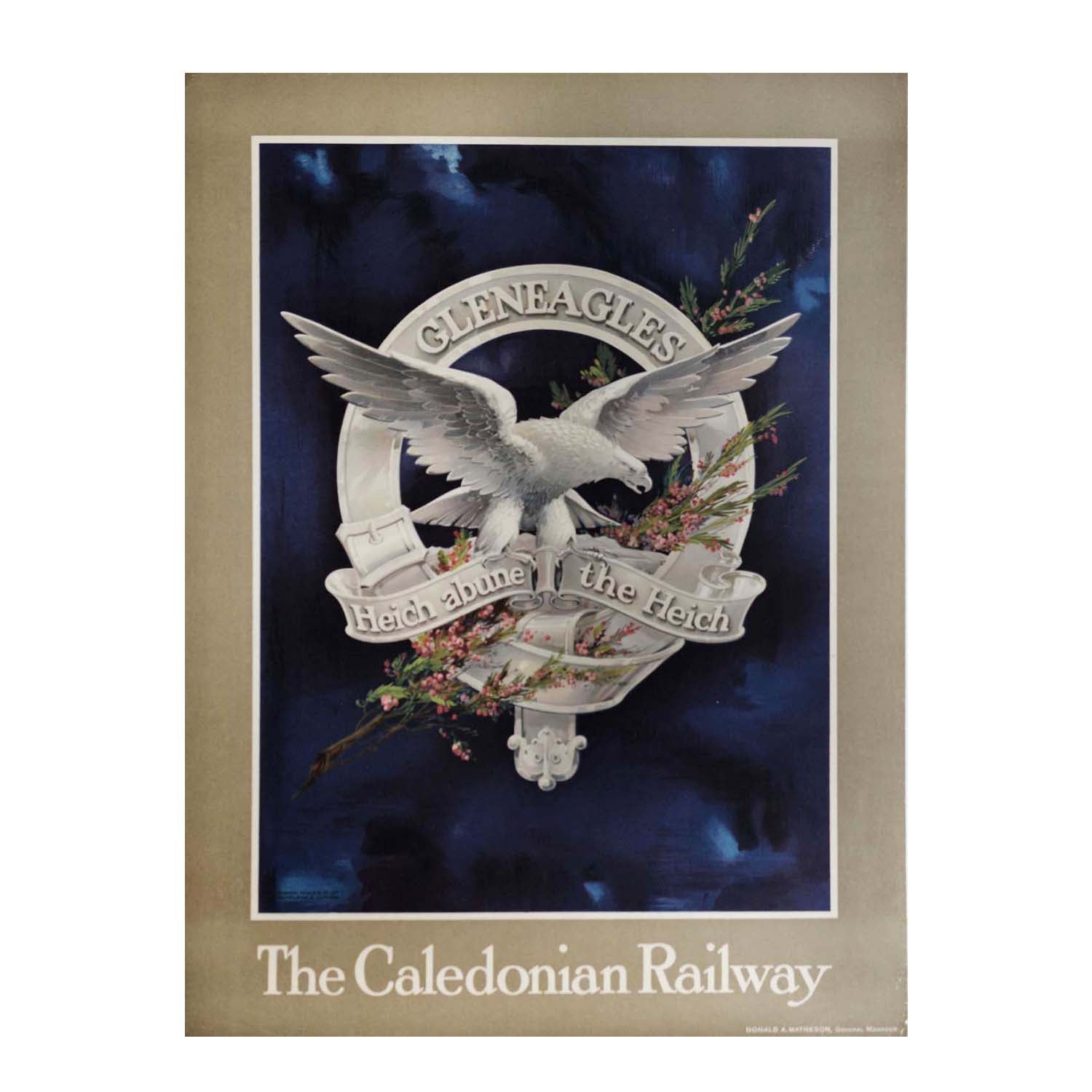 Original Caledonian Railway poster Gleneagles Hotel and golf