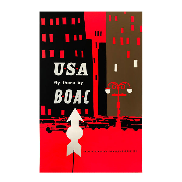 Superb mid-century modern graphic poster promoting BOAC flights between London and the USA